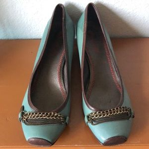 Miss Sixty Two-Tone Teal Brown Leather Kitten Heel